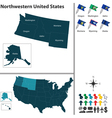 Map of Northwestern United States vector image vector image
