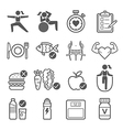 Diet and exercise icons vector image vector image
