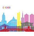 Chicago skyline pop vector image