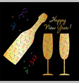 happy new year champagne bottle and glasses vector image