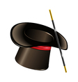 Magic hat with wand isolated on white background vector image