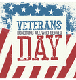 Veterans day typography on american flag vector image
