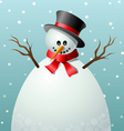 Cartoon snowman text frame vector image vector image