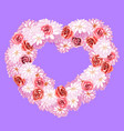 flower wreath with roses and daisies heart shape vector image