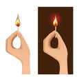 Two images with hand holding burning match vector image vector image