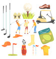 three golfers playing golf surrounded by sport vector image