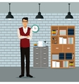 man crossed arms workspace furniture books cabient vector image