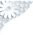Stylish gray background with 3d white chamomile vector image