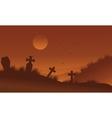 Brown bakcgrounds graveyards Halloween silhouette vector image