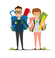 Smiling Young School Girl and Boy in Uniform vector image vector image