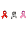 Aids Dollar and Cancer Ribbons on white vector image