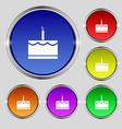 Birthday cake icon sign Round symbol on bright vector image