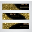 Horizontal Black and Gold Banners Set vector image