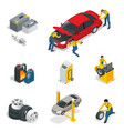 mechanic and car repair battery spark plugs oil vector image