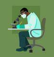 scientist looking through microscope vector image