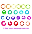 set from 22 hand-drawn abstract ink circles vector image