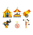 set of circus icon vintage clip art set vector image