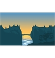 silhouette of bridge and cliff vector image