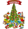 wooden christmas tree with toys vector image