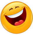laughing out loud with closed eyes emoticon vector image vector image