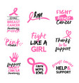 Breast cancer awareness pink hand drawn quote set vector image