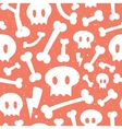 Skulls and bones red pattern vector image vector image