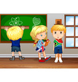Children writing on board in classroom vector image