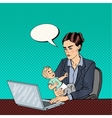 Business Woman Working on Laptop and Holding Baby vector image