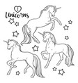 magic unicorns and stars coloring book pages vector image