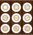 set of coffee cups on wooden background vector image