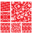 Set of Vintage ornate seamless patterns with white vector image