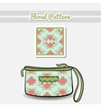 Cosmetic Bag Roses On Blue vector image