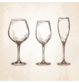 Sketch set of empty wineglasses vector image