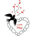 Valentines Day picture with flying bird vector image vector image