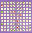 100 settings set in cartoon style vector image