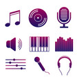 set of icons of music and songs modern collection vector image
