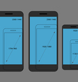 Different modern smartphone resolutions comparison vector image vector image