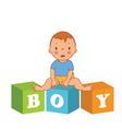 cute baby boy with children bricks vector image