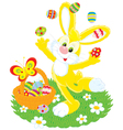 easter bunny juggles painted eggs vector image