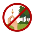 Stop symbol with hand holding burning match vector image vector image