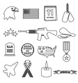 american veterans day celebration outline icons vector image