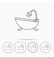 Bathroom icon Bath with shower sign vector image