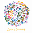Beautiful colorful flowers Watercolor painting vector image