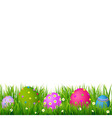 Border With Grass And Eggs Easter Card vector image