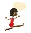 cartoon happy woman kicking with speech bubble vector image