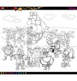pirates cartoon coloring book vector image