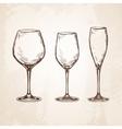 Sketch set of empty wineglasses vector image