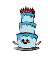kawaii cake candles happy party celebration vector image