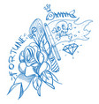 sketch of tattoo with a dagger and roses outline vector image