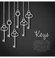 old silver keys hanging string vector image